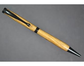 Custom Wooden Pen: Jack Daniels Oak Barrels with Black Fittings