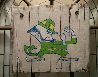Notre Dame Fighting Irish hand painted sign on reclaimed wood