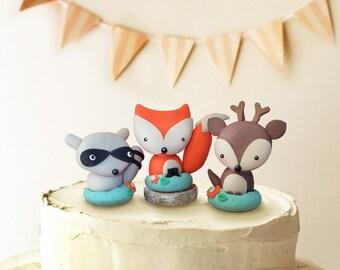 Woodland Animals Cake Topper Etsy