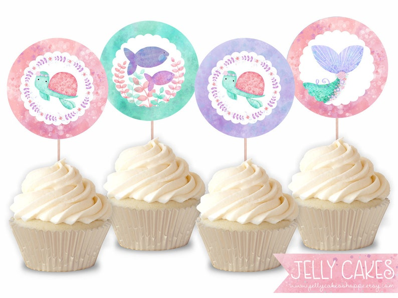 Mermaid Cupcake Toppers,Cupcake Toppers,Mermaid Birthday,Mermaid  Party,Girls Birthday Party,Digital Download,Printable Cupcake Toppers
