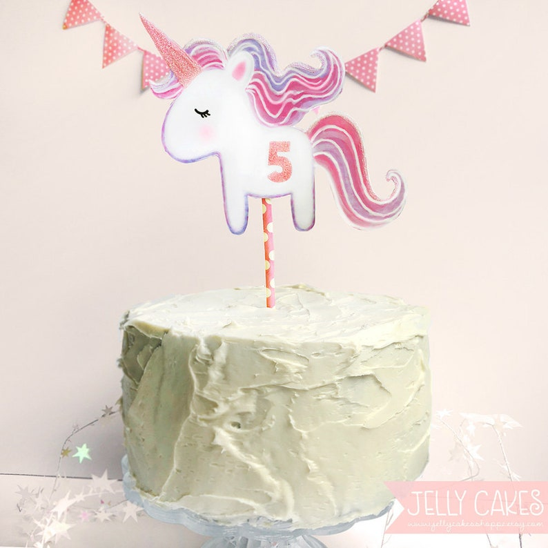 Decorations Figurines Unicorn Comestible Rond Birthday Cake Topper Decoration Personnalise Maison