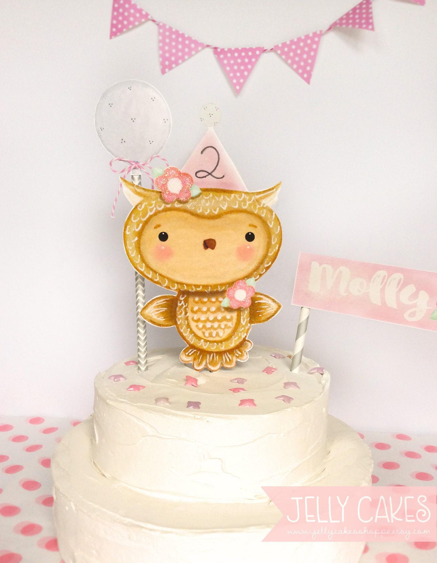 Owl Cake Topper For Girls Pink Birthday Baby Shower