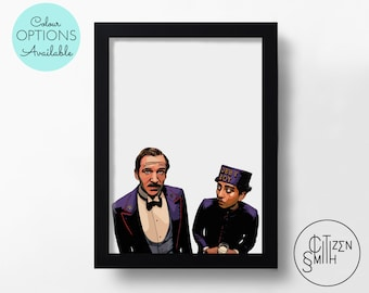 GRAND BUDAPEST HOTEL - Wes Anderson - Gustave H & Zero - Black And White/Colour - Hand-Drawn Film Art Print/ Movie