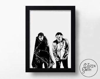 THE SOPRANOS - Pine Barrens - Paulie Walnuts & Christopher Moltisanti - Hand-Drawn Art Print/ TV Poster