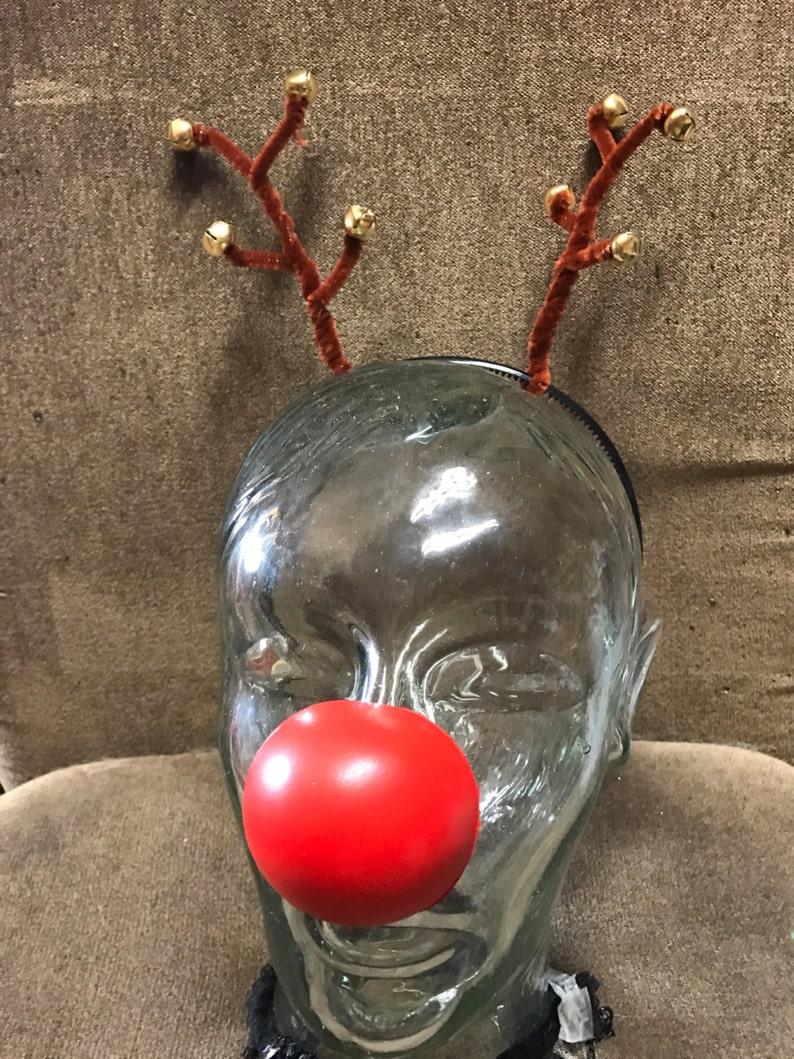 Handmade Reindeer Antler Headband with Jingle Bells