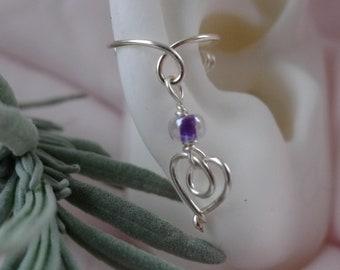 Heart*silver*charm*earcuff*gemstone*bead*nonpiercing cartilage jewelry*Valentine's*dangling charm earcuff