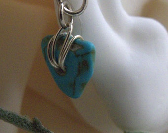 Turquoise cartilage jewelry* silver cuff with turquoise stone*triangular dangling turquoise earcuff
