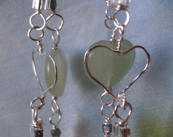 Hearts *Valentines* jade *silver hearts * necklace and dangle earrings set