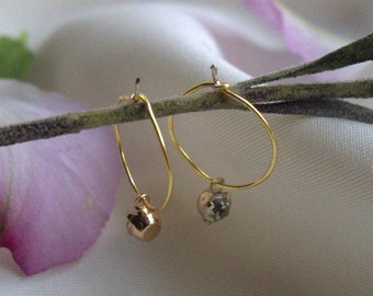 Gold hoops with zirconia tassle bead*dangle earring*cartilage hoop*daith ring* handmade*lightly hammered gold plated