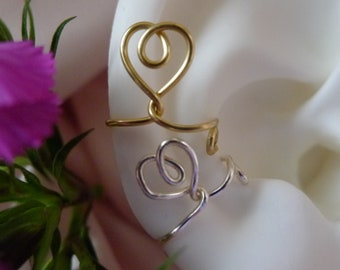 Heart*Valentine* silver or gold option* RIGHT earcuff*nonpiercing cartilage jewelry*daith