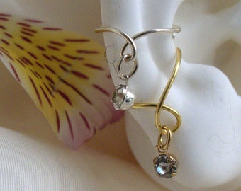 Earcuff with sparkling dangle crystal* silver or gold* nonpiercing cartilage jewelry
