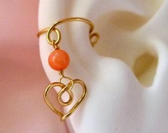 Heart*gold*charm* earcuff*gemstone*bead**nonpiercing cartilage jewelry*Valentine's*dangling charm earcuff