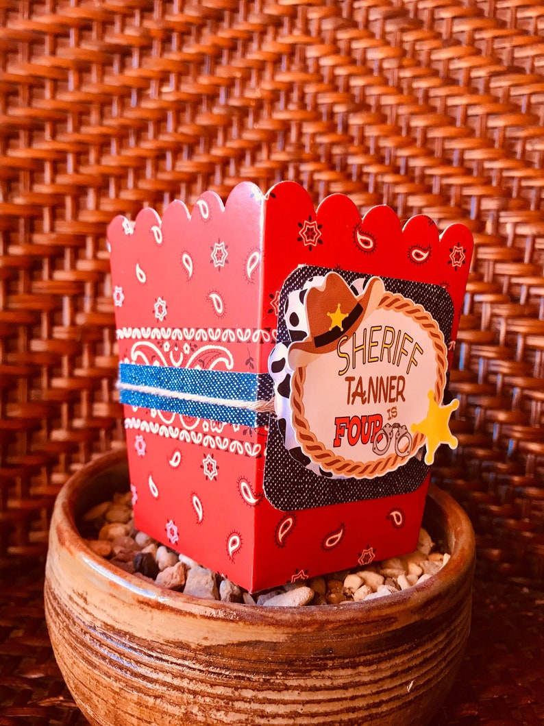 Western Sheriff Cowboy personalized Popcorn Boxes Cowboy snack boxes.