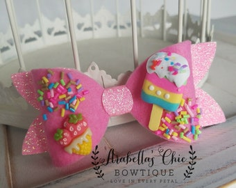 Ice Cream Sprinkles Bow, Strawberry Popsicle Ice Cream Bow, Adjustable Headband
