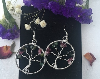 Watermelon Tourmaline, Tree of Life Earrings, Gemstone Earrings, Sacred Adornment, Gifts for Her