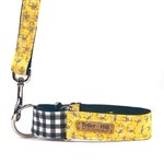 The Honey Bee Martingale Dog Collar with Black and White Gingham Print - Vegan and Eco Friendly