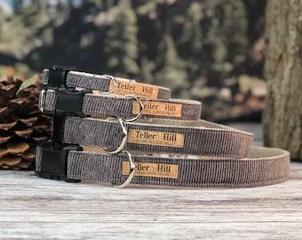 The Timberline Gray Cordury Flat collar, Fall Dog Collar, Gray dog collar, Hemp dog collar, Vegan dog collar