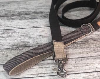 Grey corduroy Dog Leash, Gray Dog Lead, TheTimberline , Hemp dog leash
