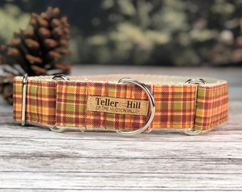 Autumn plaid Martingale collar, Fall Dog Collar, Rust, Orange and Green dog collar, Hemp dog collar, Vegan dog collar