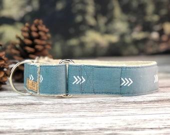 The Fletcher Martingale collar, Fall Dog Collar, Blue dog collar, Hemp dog collar, Vegan dog collar, Boho Arrow Dog Collar, corduroy