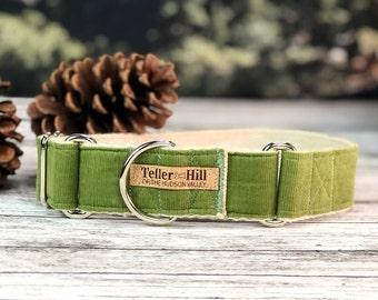 The Saguaro Green Martingale collar, Fall Dog Collar, Sage Green dog collar, Hemp dog collar, Vegan dog collar, Green Corduroy