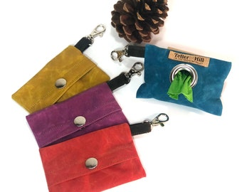 Waxed canvas, dog poop bag holder, waste bag holders, one roll of waste bags included