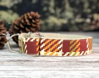 The Joshua Tree Martingale collar, Fall Dog Collar, Rust, Orange and Green dog collar, Hemp dog collar, Vegan dog collar