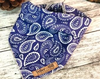 Blue dog Bandana, Paisley dog bandana, tie on bandana, Ashokan print