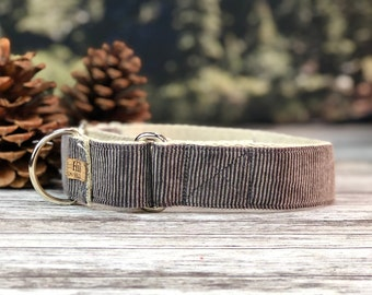 The Timberline Grey Corduroy Martingale collar, Fall Dog Collar, Silver Gray dog collar, Hemp dog collar, Vegan dog collar,  Corduroy