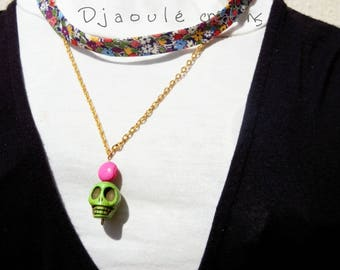 liberty necklace and skull - green and pink - OOAK