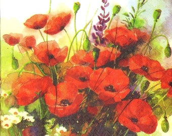 for decoupage mixed media scrapbook general craft 4 individual red poppy decoupage napkins Bright floral paper craft napkins