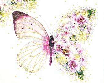 4 x Paper Napkins for Decoupage BUTTERFLIES /& BLOSSOMS Flowers Floral