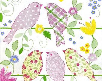fête déjeuner Unique 4 Vintage Serviettes En Papier pour Découpage DECOPATCH deux oiseaux
