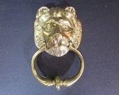Vintage Brass Lion Door Knocker - Heavy Brass Door Knocker - Lion Door Knocker - with Mounting Screws - Architectural Salvage