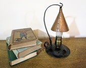 Antique Craftsman Wrought Iron and Hammered Copper Lamp w Pendant Shade - 1910 39 s 20 39 s - Mission - Bungalow - Arts Crafts Lamp