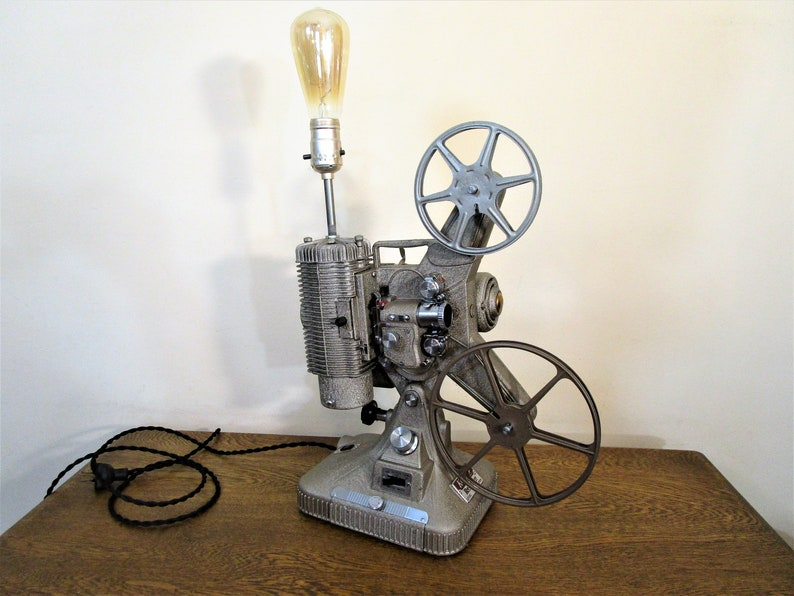 Vintage Industrial 8mm Movie Projector Lamp ~ Art Deco Industrial Style ~  Keystone Projector Lamp - Home Theater Decor - Media Room Decor