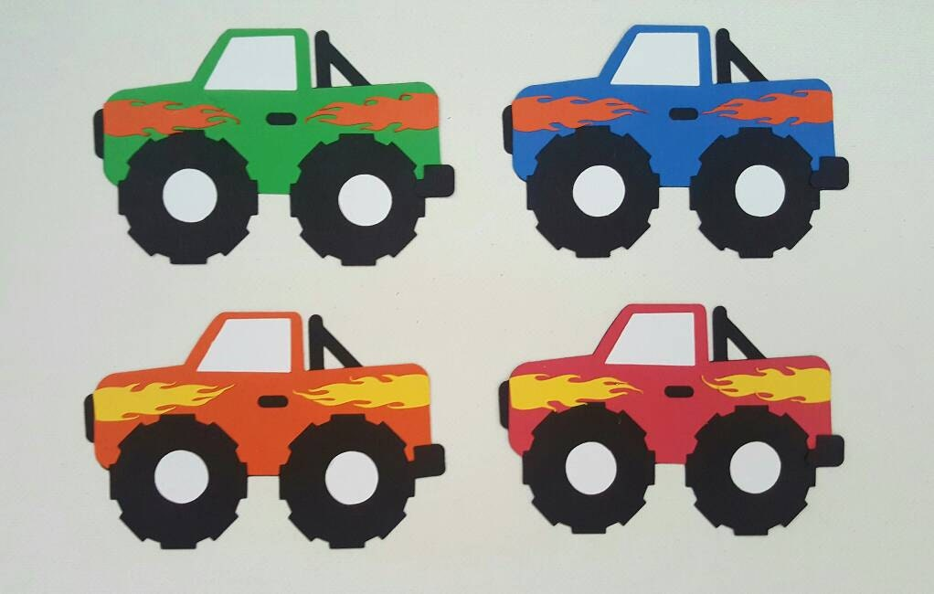 Monster Truck Die Cut Set Of 4 Monster Truck Birthday Boys
