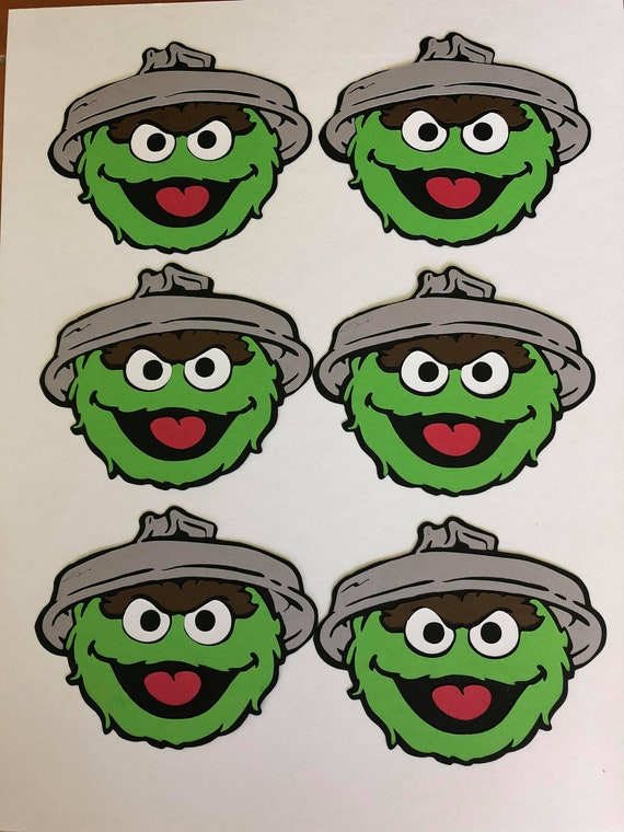 Oscar The Grouch With Trash Can Lid Die Cut Set Of 6 By