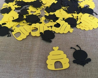 100 piece Bee Confetti, Bumblebee confetti, Mommy To Bee Party, Baby Shower, Black and yellow confetti,  Bee Party, Beehive Confetti