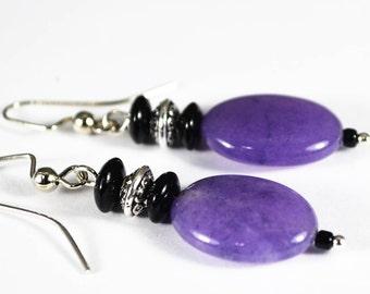 FREE SHIPPING, purple jade earrings, purple earrings, purple and black earrings, jade earrings,gemstone earrings, lilac earrings,nickle free