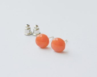 FREE SHIPPING,coral studs, pink coral studs, coral earrings,coral stud earrings,tiny coral studs, studs earrings,coral earrings,coral pink