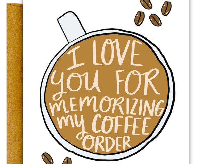 Funny Coffee Card, Birthday Card, Boyfriend Card, Card for Him, Valentines Day Card, Card for Boyfriend, Love Card, Funny Coffee