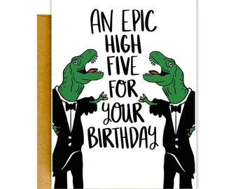 Funny Birthday Card, Funny Greeting Card, Birthday Card, Greeting Cards, Card for Him, Funny Card, High Five Birthday, Birthday Card