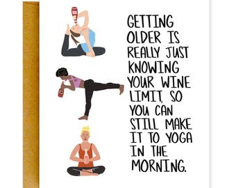 Funny Birthday Card Yoga Cards For Her Greeting