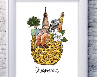 Charleston Art Print 8x10, Charleston South Carolina Print, Charleston Print, Charleston Map Print, Art Print Charleston, Charleston SC