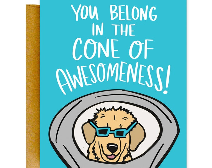 Funny Thank You Card, Funny Greeting Card, Thank You Card, Card for Vet, Funny Card, Love Card, Cone of Shame, Funny Thank You