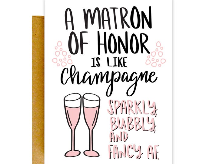 Will You Be My Matron of Honor Card, Matron of Honor Card, Bridesmaid Card, Wedding Card, Bridesmaid Card, Funny Card, Bridesmaid Proposal