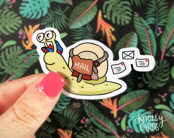 Snail Mail Sticker, Cute Vinyl Sticker, Sticker for Water Bottle, Sticker for Laptop, Snail Mail, Knotty Cards