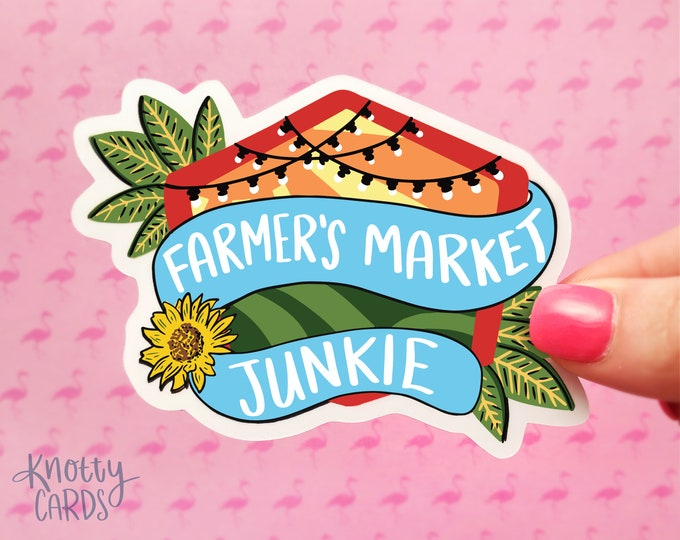 Farmer's Market Sticker, Cute Vinyl Sticker, Sticker for Water Bottle, Sticker for Laptop, Farmer's Market, Knotty Cards