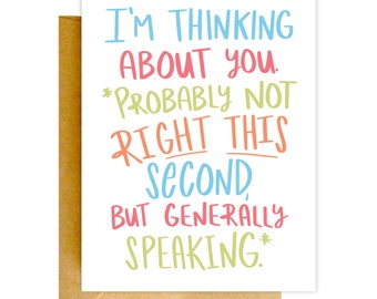 Funny Miss You Card, Funny Card, I Miss You Card, Greeting Card, Thinking of You Card, Funny Card, Love Card, Just Beacuse Greeting Card
